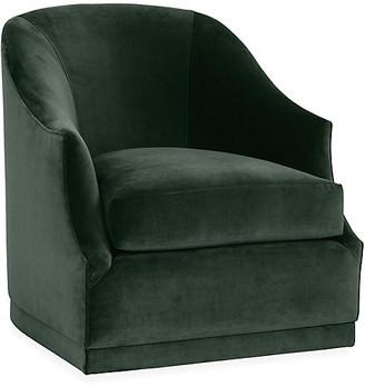One Kings Lane Bridget Swivel Club Chair - Forest Velvet