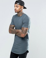 Asos Super Longline Muscle T-shirt With Curved Hem In Slate