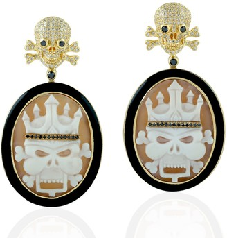 Artisan 18Kt Yellow Gold Pave Diamond Skull Dangle Earring Shell Cameos Jewelry