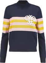 Emilio Pucci Appliquéd striped ribbed-knit sweater