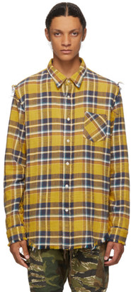 R 13 Yellow Check Frayed Shirt