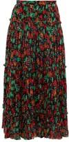 Saloni Celestine Floral-print Pleated Crepe Skirt - Womens - Black Multi