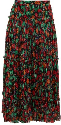 Saloni Celestine Floral-print Pleated Crepe Skirt - Black Multi