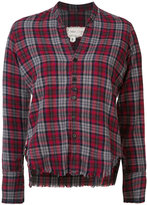 Greg Lauren cropped frayed checked shirt