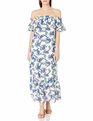 Lucca Couture Women's Floral Print Strapless Ruffle Maxi Dress