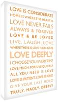 Feel Good Art Gallery Wrapped Box Canvas with Solid Front Panel (91 x 60 x 4 cm, White/Orange, Love Deeply from the Inspiration Collection)