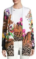 Etro Floral & Animal-Print Stampa Open Cardigan, Black/Multi