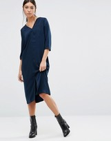 Vila 3/4 Sleeve Midi Dress with V Neck