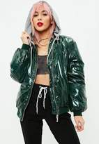 Missguided Green High Shine 2in1 Padded Jacket