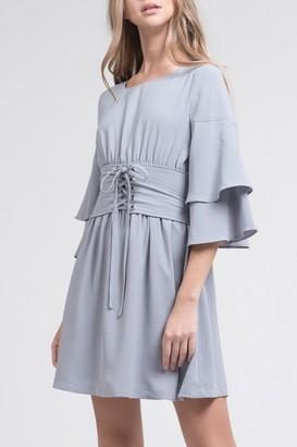 J.o.a. Woven Tiered Sleeve Corset Dress