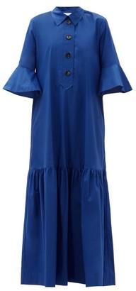 La DoubleJ Artemis Fluted-sleeve Cottton Maxi Shirt Dress - Dark Blue