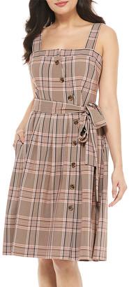 Gal Meets Glam Women's Casual Dresses BROWN - Brown Plaid Madison Sleeveless Button-Up A-Line Dress - Women & Juniors