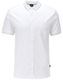 BOSS Slim-fit polo shirt in cotton with stripe detail