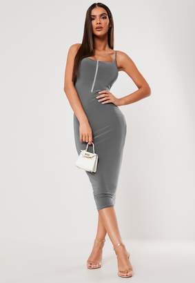 Missguided Sxf X Grey Slinky Zip Front Midi Dress
