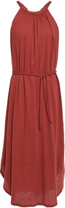 Joie Meribah Belted Linen And Cotton-blend Jersey Midi Dress