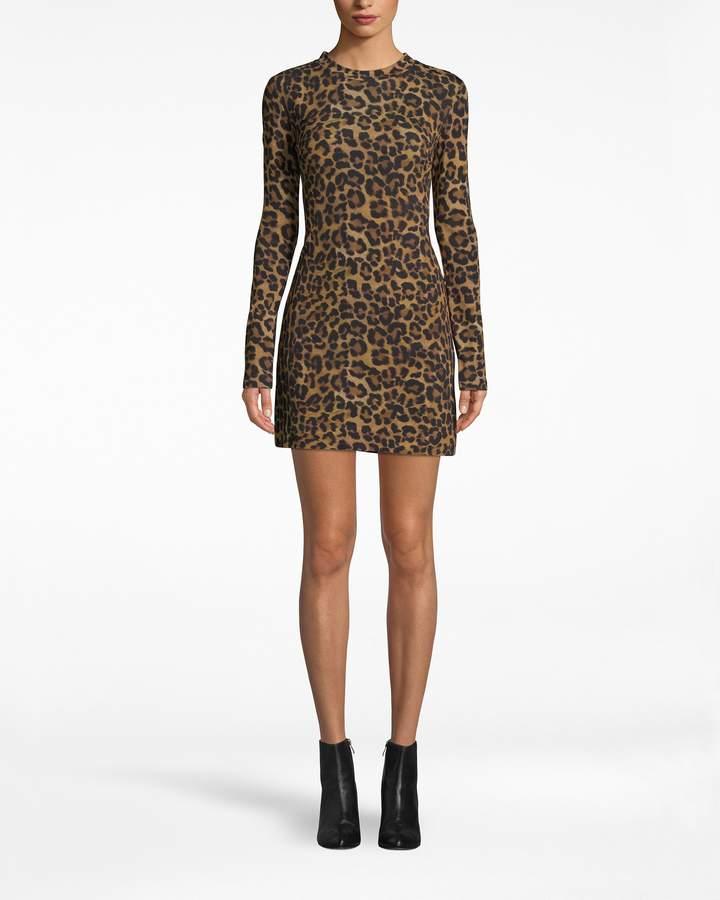 Nicole Miller Furry Leopard Jersey L/s Shirt Dress