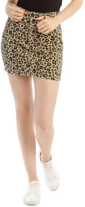 Missguided Leopard Cord A Link Skirt