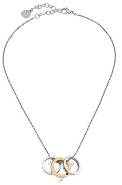 Majorica Simulated Pearl Two-Tone Ring Pendant Necklace, 15