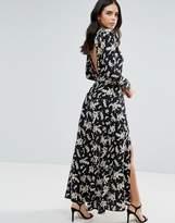 Liquorish Monochrome Maxi Dress With Slits