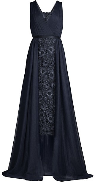 Aidan Mattox Lace Drape Overlay Midi Dress