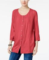 JM Collection Pleated Crochet-Trim Blouse, Only at Macy's