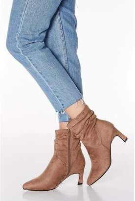 Quiz Taupe Faux Suede Ruched Point Toe Boots