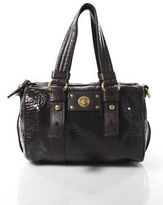 Marc by Marc Jacobs Brown Patent Leather Textured Small Satchel Handbag