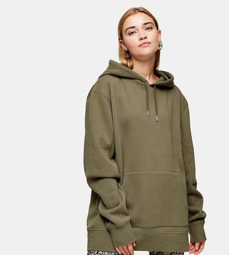 Topshop Tall overlocked hoodie in olive