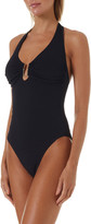 Melissa Odabash Tampa Scoop-Neck Pique Halter One-Piece Swimsuit