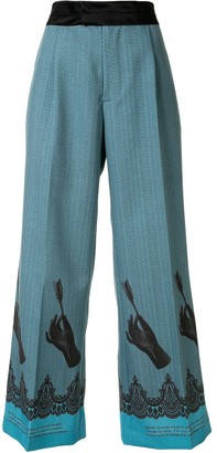Undercover Leg-Print Flared Trousers