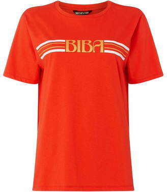 Biba Stripe and logo t-shirt