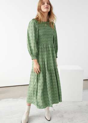 And other stories Smocked Abstract Print Maxi Dress