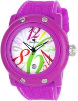 Glam Rock Women's GR25002 Crazy Sexy Cool Dial with Multi-Colored Numerals Purple Silicone Watch
