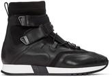 Versace Black Leather & Neoprene High-Top Sneakers