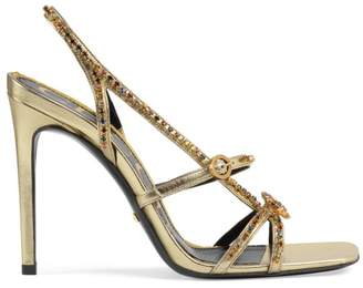 Gucci Carmen Metallic Crystal Leather Sandals