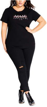 City Chic Trendy Plus Size Bonjour Embellished Cotton T-Shirt