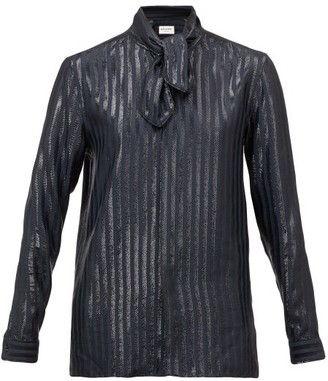 Saint Laurent Lame-striped Silk-blend Blouse - Navy