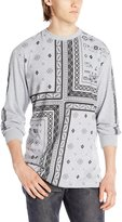 Southpole Men's Engineered Print Patterned Long Sleeve Tee with Squared Patterns, Heather Grey