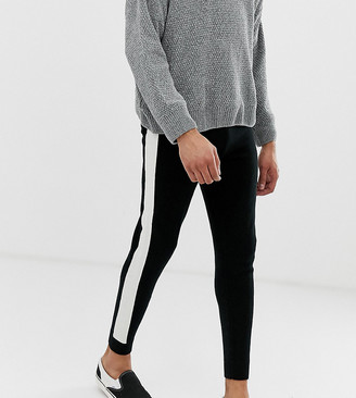 Asos Design DESIGN Tall knitted joggers with side stripe in black