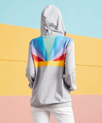 Luukse Women's Sweatshirts and Hoodies 101HEATHER - Heather Gray & Blue Rainbow Kangaroo-Pocket Zip-Up Hoodie - Women & Plus