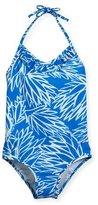 Milly Minis Blue Lotus Ruffled Halter One-Piece Swimsuit, Blue/Orange, Size 10-16