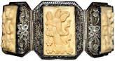 One Kings Lane Vintage Carved Sterling & Bone Panel Bracelet