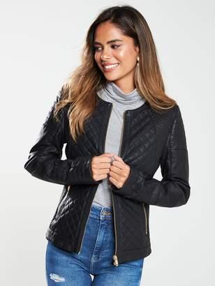 Very Multi Stitch PU Biker Jacket - Black