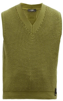 Fendi V-neck Cashmere Sleeveless Sweater - Green