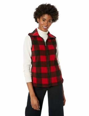 Chaps Women's Plaid Pattern Fashion Mockneck Sleeveless Vest