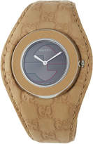Gucci 35mm U-Play Watch w/ Embossed Leather Strap