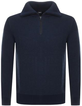 BOSS Casual Ayfair Half Zip Knitted Jumper Navy