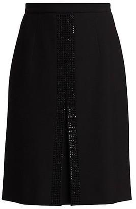 Akris Punto Embellished A-Line Crepe Skirt