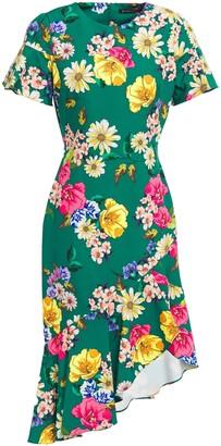 Black Halo Breelle Asymmetric Floral-print Stretch-cady Dress