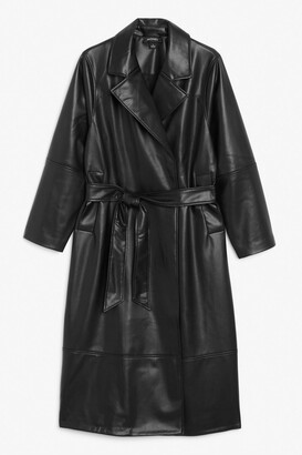 Monki Faux leather trench coat